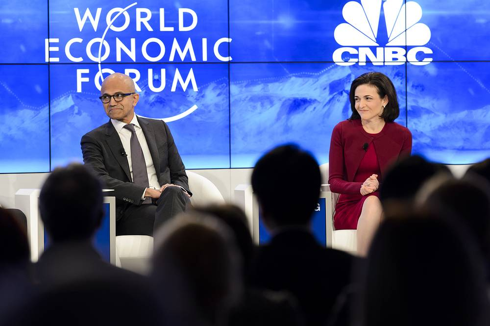 Satya Nadella, Microsoft Corporation CEO and Sheryl Sandberg, Facebook CEO at a panel session the first day of the 46th Annual Meeting of the WEF