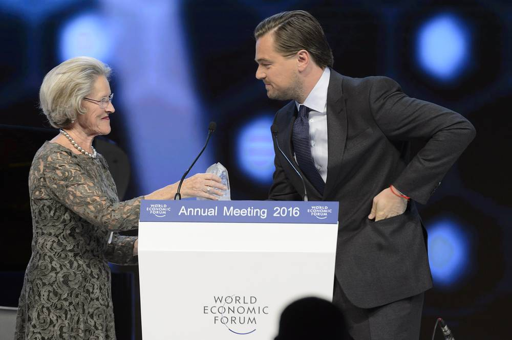 US actor Leonardo DiCaprio receiving a Crystal Award at WEF. The World Economic Forum's annual Crystal Award honours artists whose important contributions are improving the state of the world