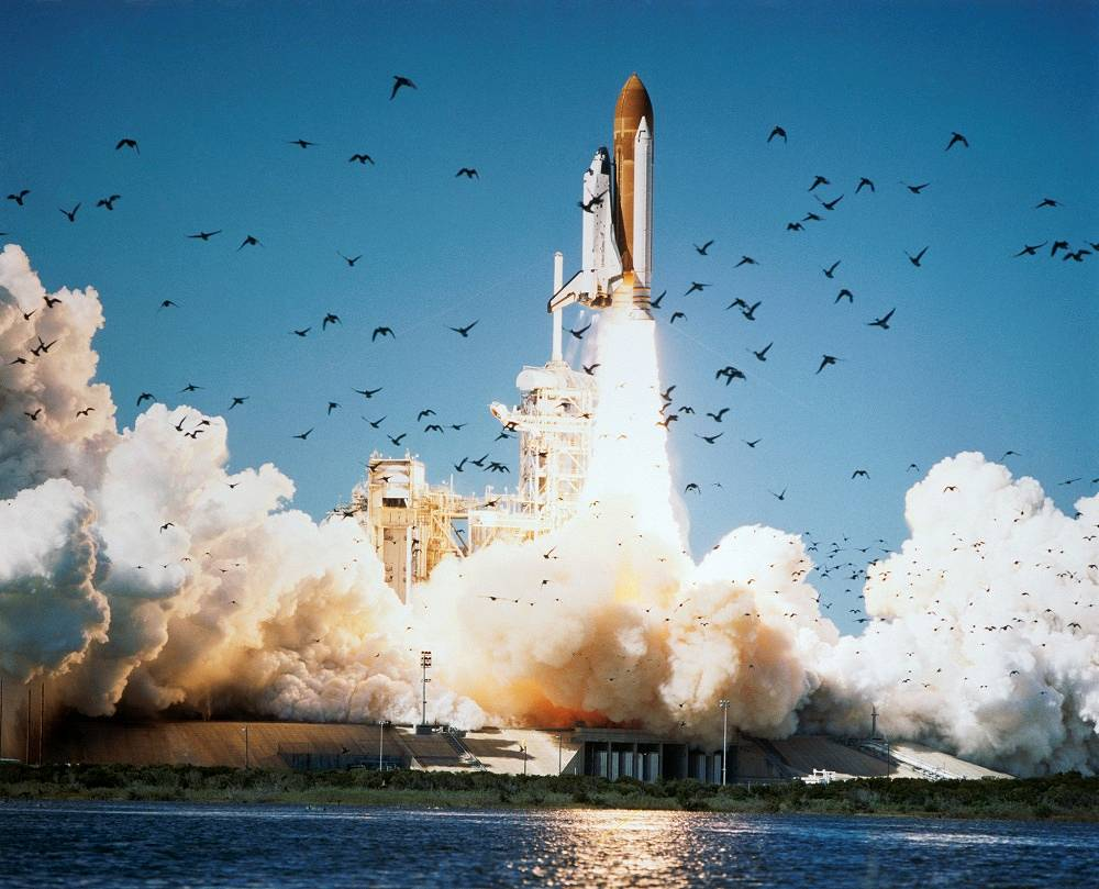 Liftoff of the space shuttle