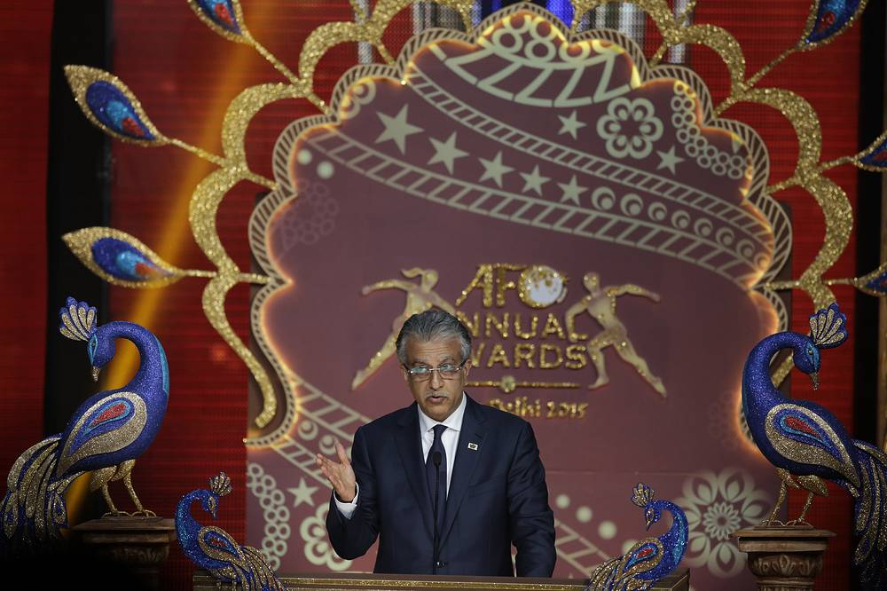 Asian Football Confederation (AFC) president Shaikh Salman bin Ebrahim Al Khalifa at the AFC annual awards in New Delhi, India