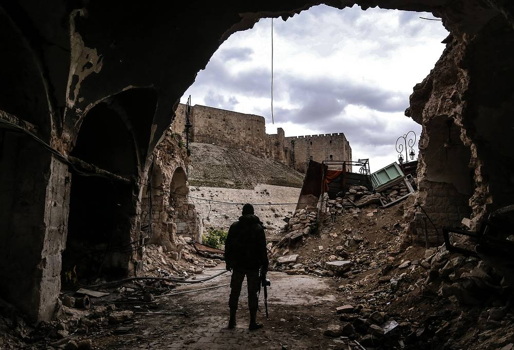 A view of the Citadel from the old city of Aleppo