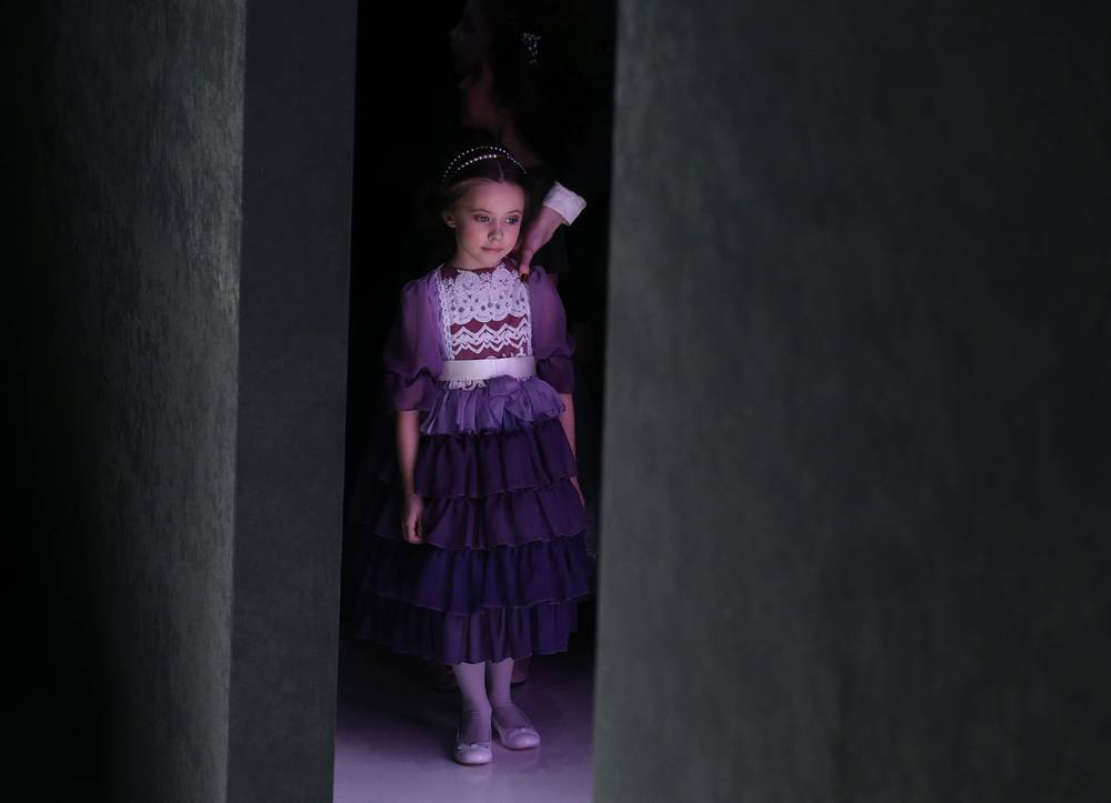 A model seen during a runway show for Belarusian fashion designer Veronica Kanashevich's collection