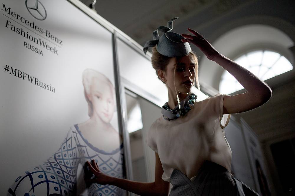 Model backstage preparing to displays during Mercedes-Benz Fashion Week in Moscow