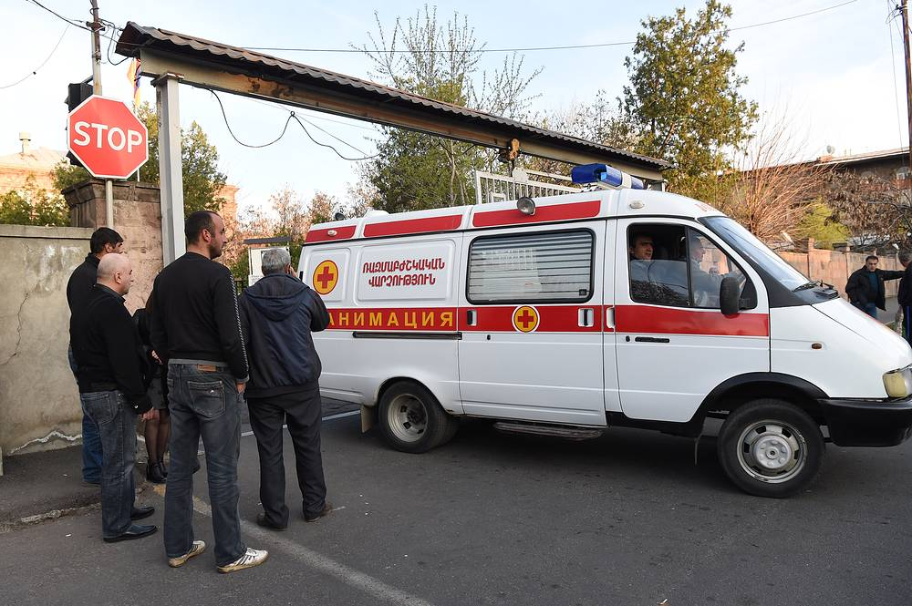 An ambulance transporting wounded Armenian soldiers to a hospital in Yerevan