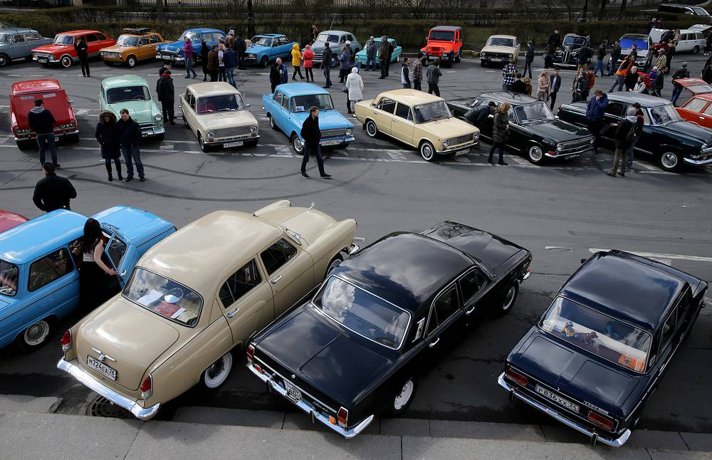 Vintage cars exhibition on Vasilevsky Island in Saint Petersburg