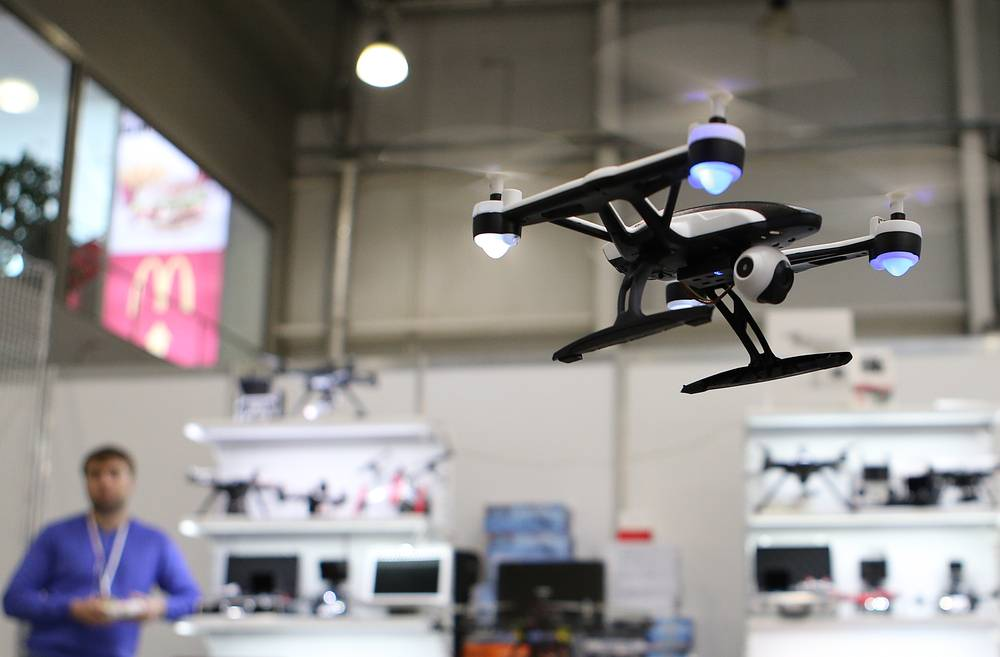 A drone seen at the 9th International Helicopter Industry Exhibition HeliRussia 2016