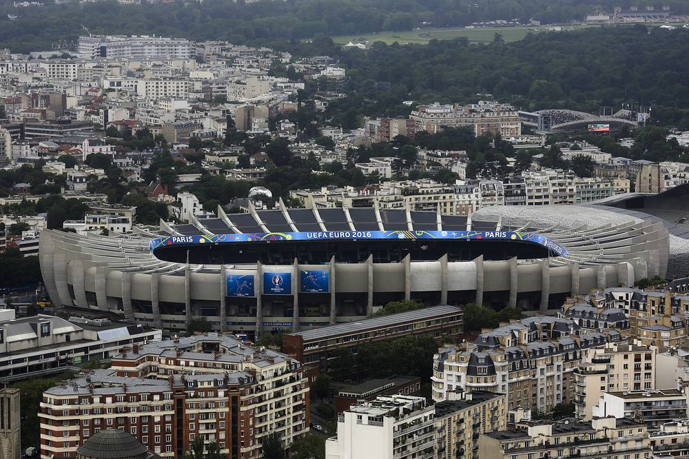 General view from a helicopter on The Parc des Princes stadium in Paris, France. The Parc des Princes stadium, with 48,000 seats, will be one of the venues of UEFA Euro 2016 soccer tournament
