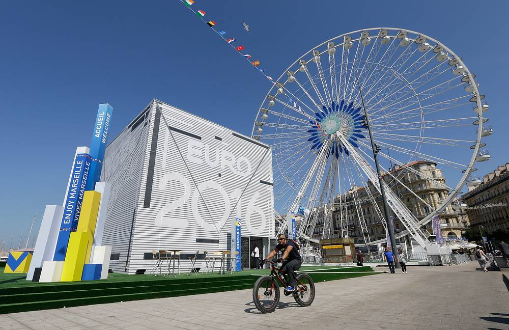 Euro 2016 Cube meeting point, at the Old-Port of Marseille, southern France
