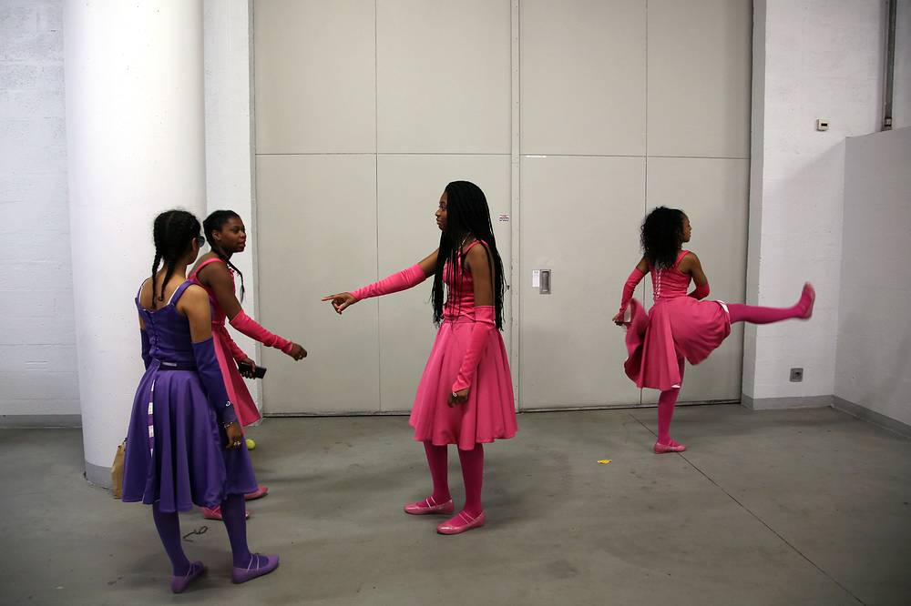 Dancers warmi up before the rehearsal of the opening ceremony show for the upcoming Euro 2016 soccer shampionships, at the Stade de France stadium in Paris