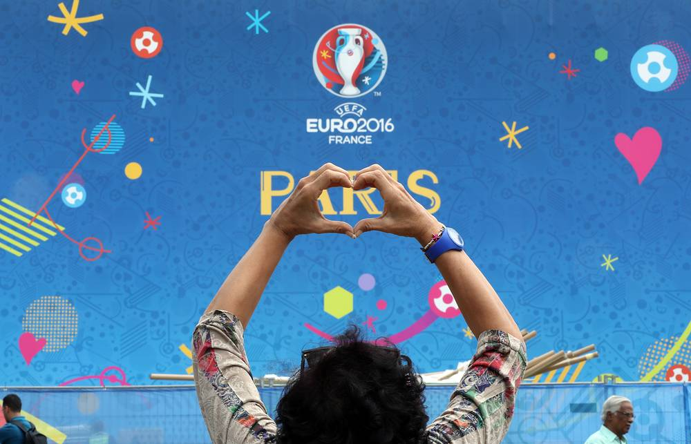 The fan zone at the Eiffel tower ahead of the Euro 2016 in Paris