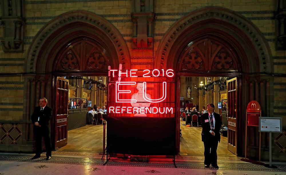 View of Manchester Town Hall, the setting for the national count in the EU referendum, in Manchester, Britain