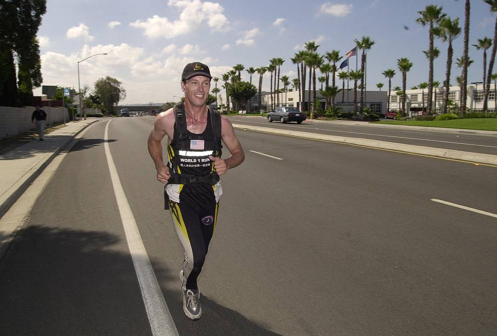 On 13 June 2003, Robert Garside completed the first recognized run around the world, taking 5 and a half years; the run was authenticated in 2007 by Guinness World Records after 5 years of verification