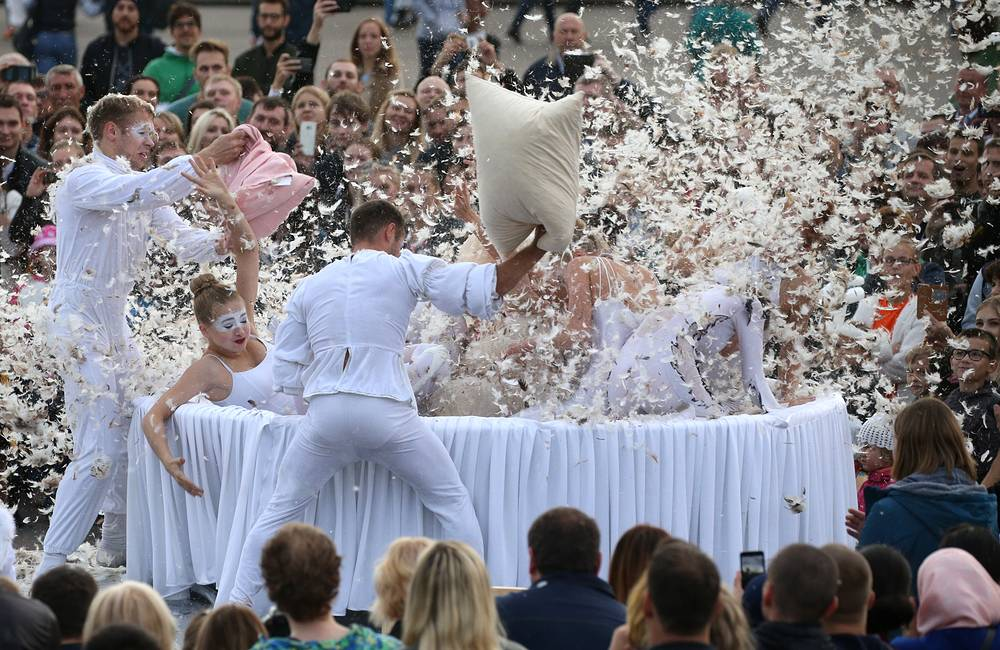 Actors perform at the festival in Gorky Park