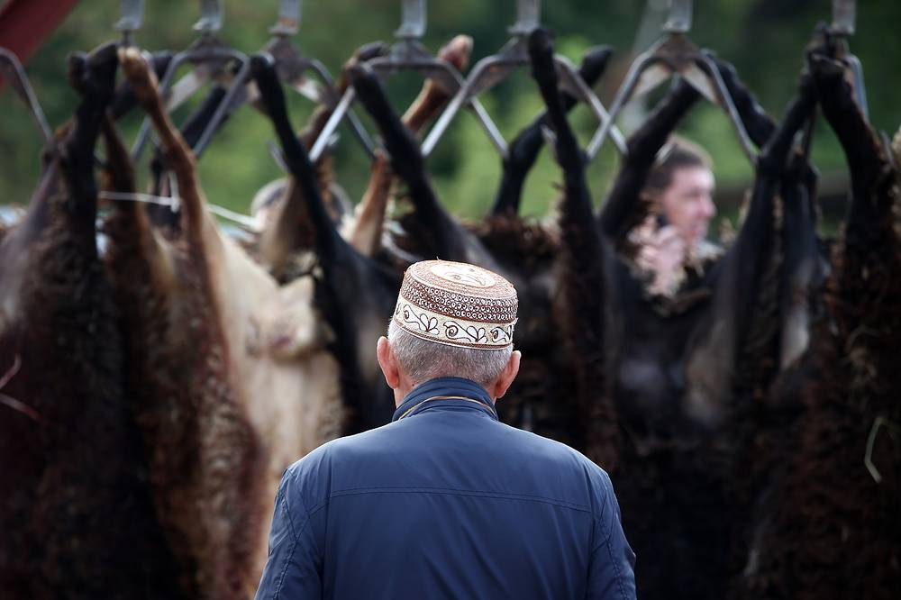 Sheep sacrificed on Eid al-Adha in Kazan, Russia