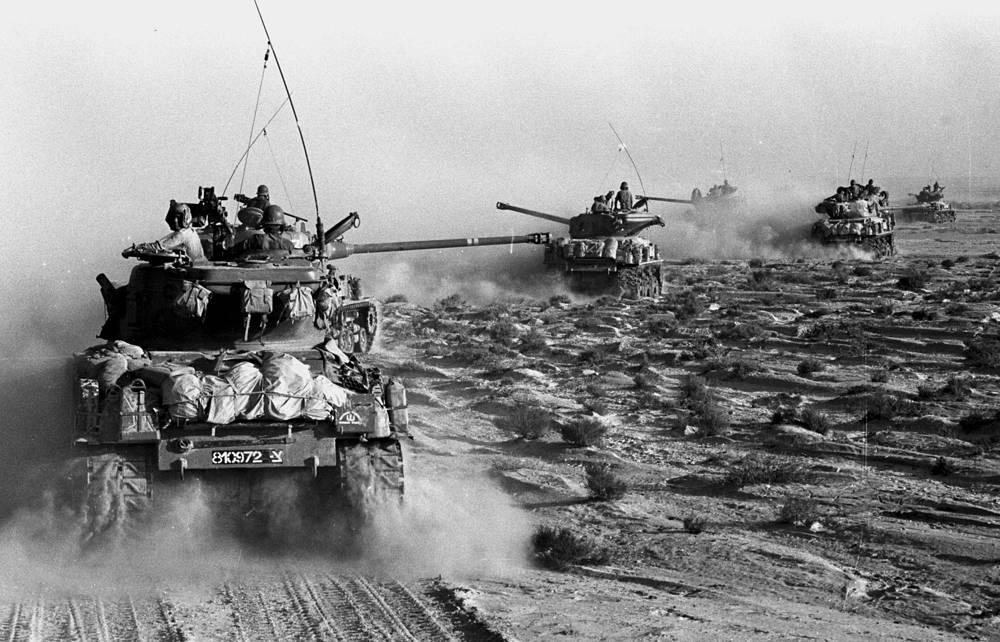 M4 Sherman, or Medium Tank M4, was the most numerous battle tank used by the US and some of the other Western Allies in World War II. Photo: Israeli Sherman M4 tanks moving towards the Sinai during Israel's invasion of the Sinai in the six day war of Israel, 1967