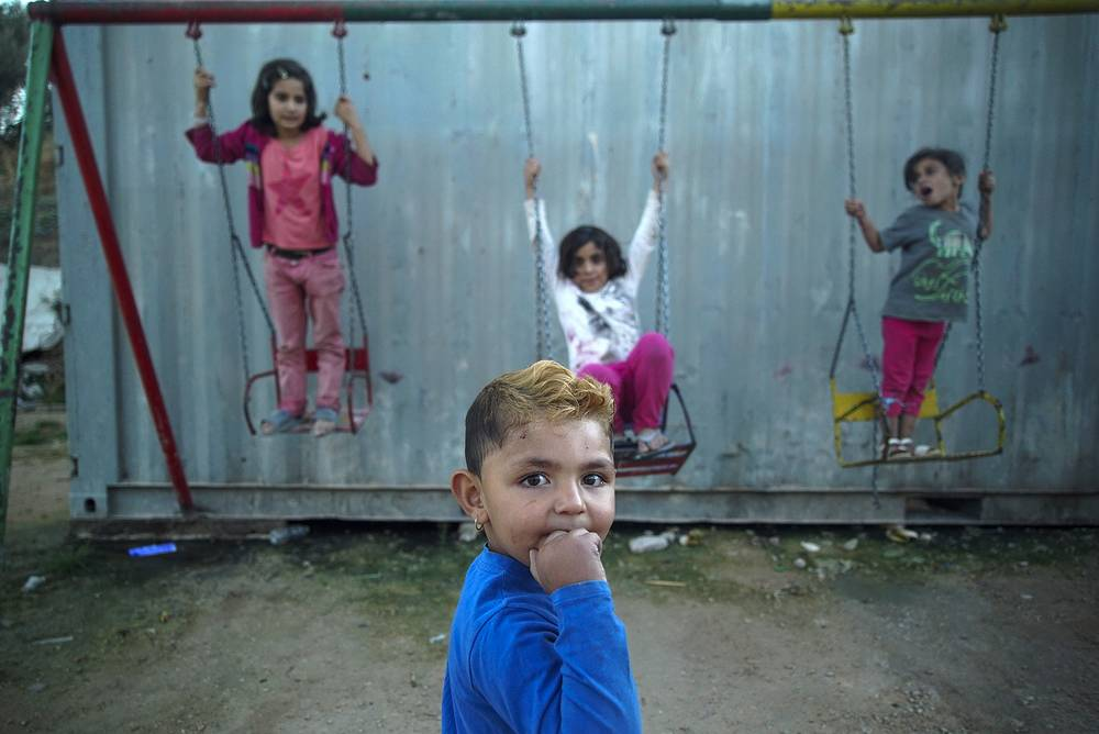 Children in a refugee camp on the northeastern Greek island of Chios, Sept. 28