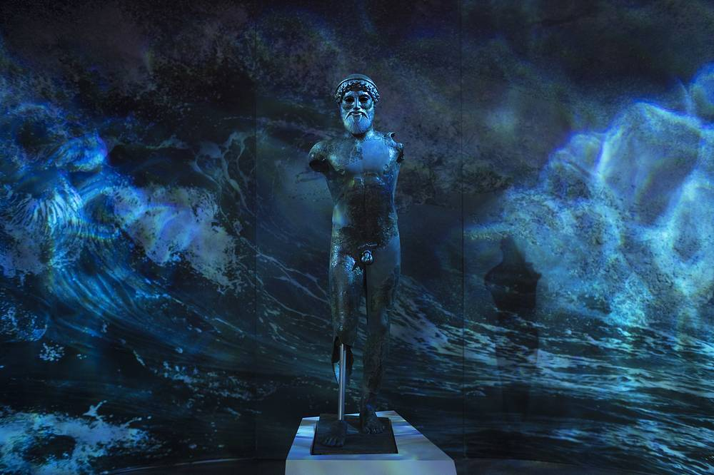 The 480 B.C bronze statue of the ancient Greek god of the sea, Poseidon, in the National Archaeological Museum in Athens, Sept. 26