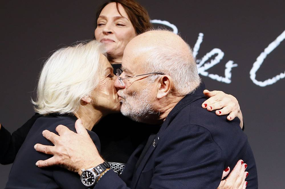 Photographer Peter Lindbergh, actress Helen Mirren and Uma Thurman  at the photocall to unveil the Pirelli 2017 calendar in Paris