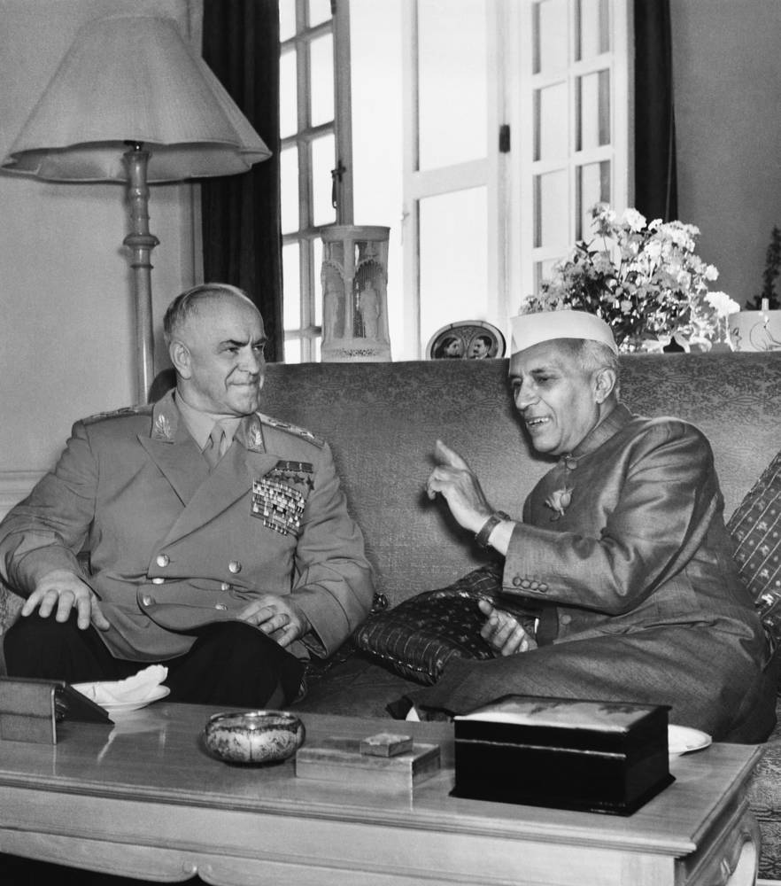 In 1955, Zhukov was appointed Defense Minister. Photo: Marshal Georgy Zhukov and Prime minister of India Jawaharlal Nehru meet for talks, Delhi, 1957