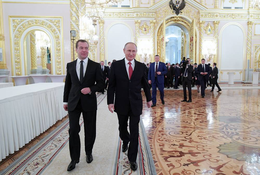 Russia's Prime Minister Dmitry Medvedev and Russia's President Vladimir Putin