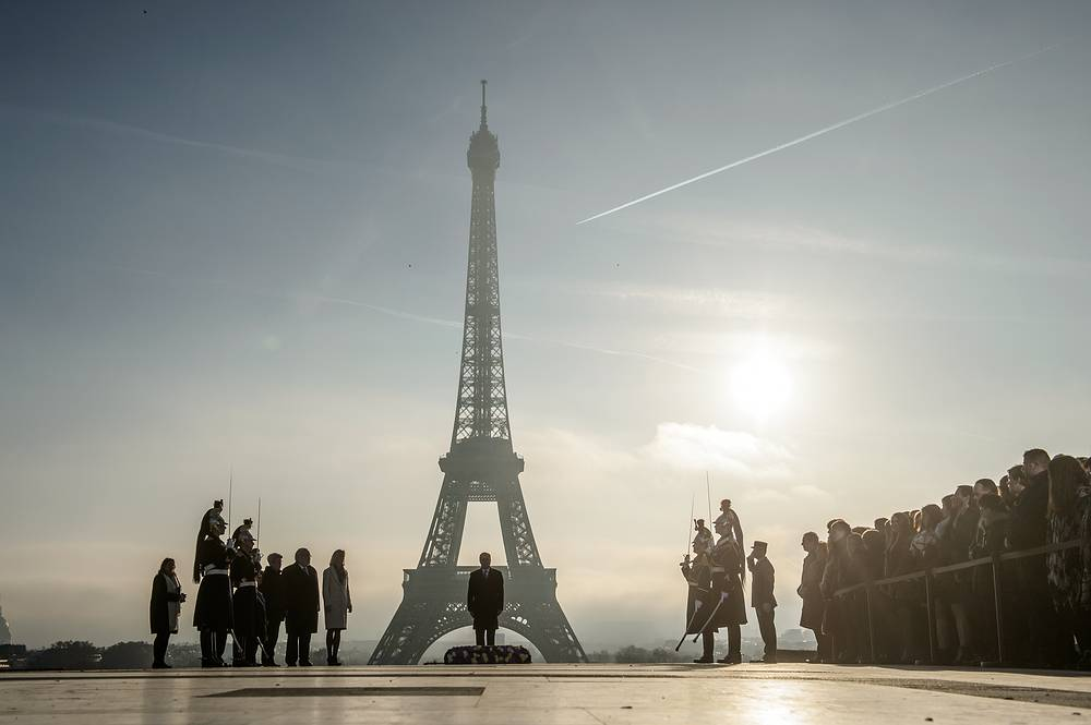 French President Francois Hollande attends a ceremony to pay tribute to disabled and sick victims of the WWII at the Trocadero square, facing the Eiffel tower, in Paris