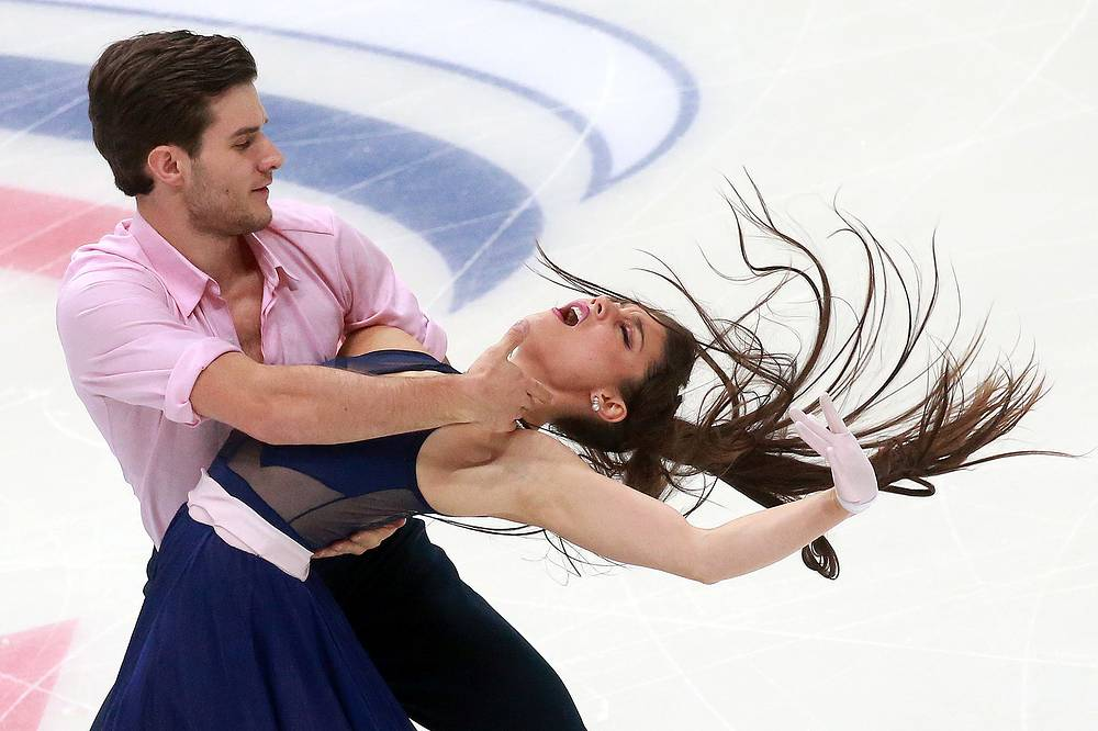 Ice dancers Laurence Fournier Beaudry and Nikolaj Sorensen of Denmark perform their short dance at the 2016 Rostelecom Cup, Russia's Grand Prix of Figure Skating, Moscow, November 4