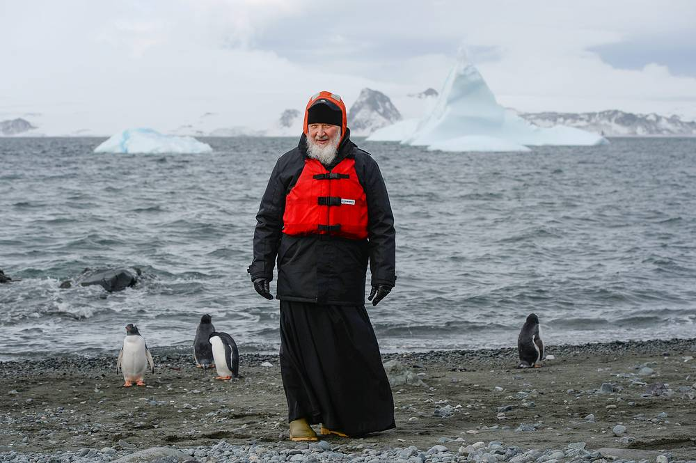 Patriarch Kirill of Moscow and All Russia at Russia's Bellingshausen Antarctic station, February 18
