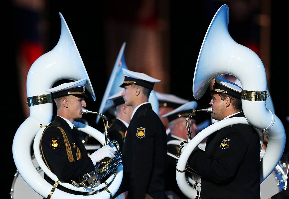 Members of the Central Band of Russian Navy named after N.A. Rimsky-Korsakov perform at the opening of the Spasskaya Tower international military music festival, Moscow, August 27