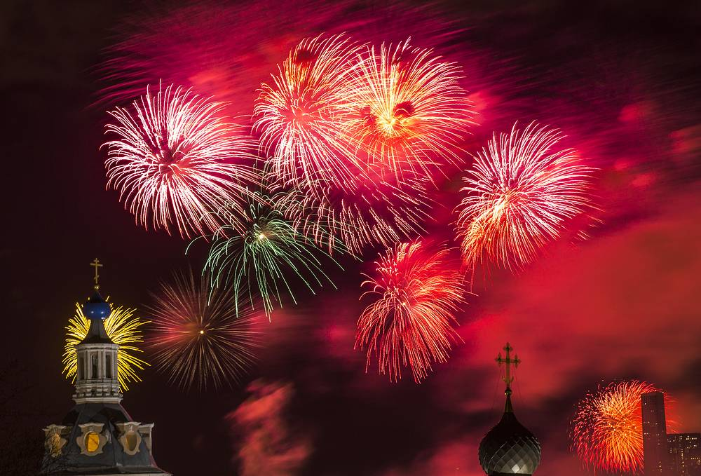 Fireworks go off marking Defender of the Fatherland Day, Moscow, February 23