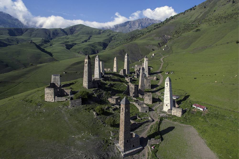 Erzi, a complex of medieval Ingush towers, in the Caucasus Mountains, in Erzi Nature Reserve