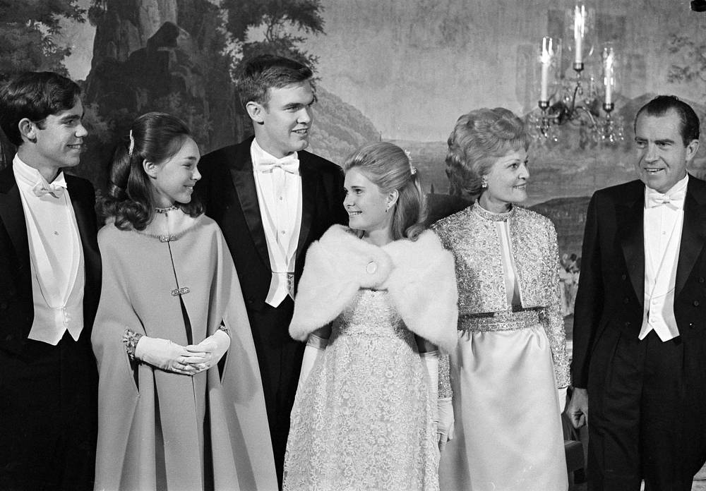 Pat Nixon and Richard Nixon in the White House prior to inaugural balls, in Washington, 1969