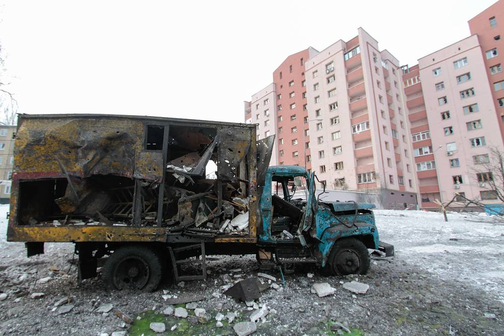 A truck that came under fire during a shelling attack of Donetsk's Kievsky district