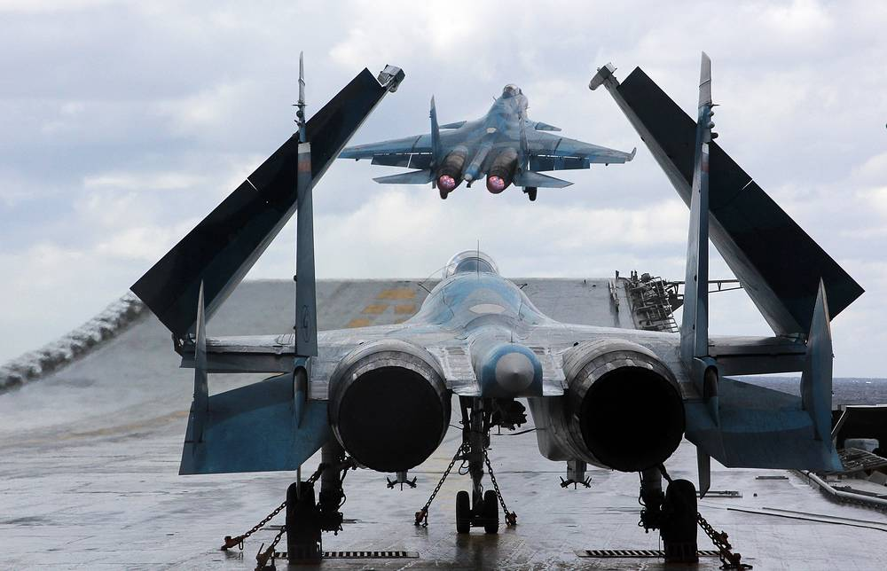 Sukhoi Su 33 taking off from Russia's Admiral Kuznetsov aircraft carrier, January 10, 2017