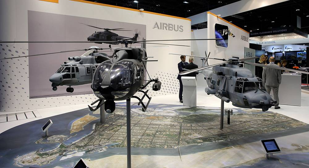 Helicopters at the booth of Airbus
