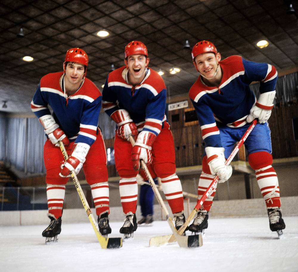 USSR national ice hockey team and HC CSKA forwards Valery Kharlamov, Boris Mikhailov and Vladimir Petrov