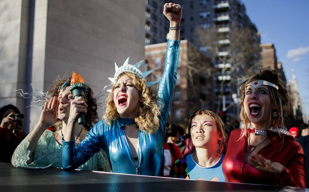 A rally and protest marking International Women's Day in New York, USA, March 8