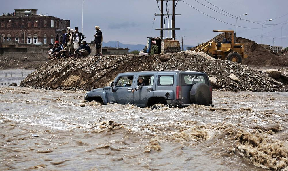 Aftermath of a heavy rain in Sanaa, Yemen