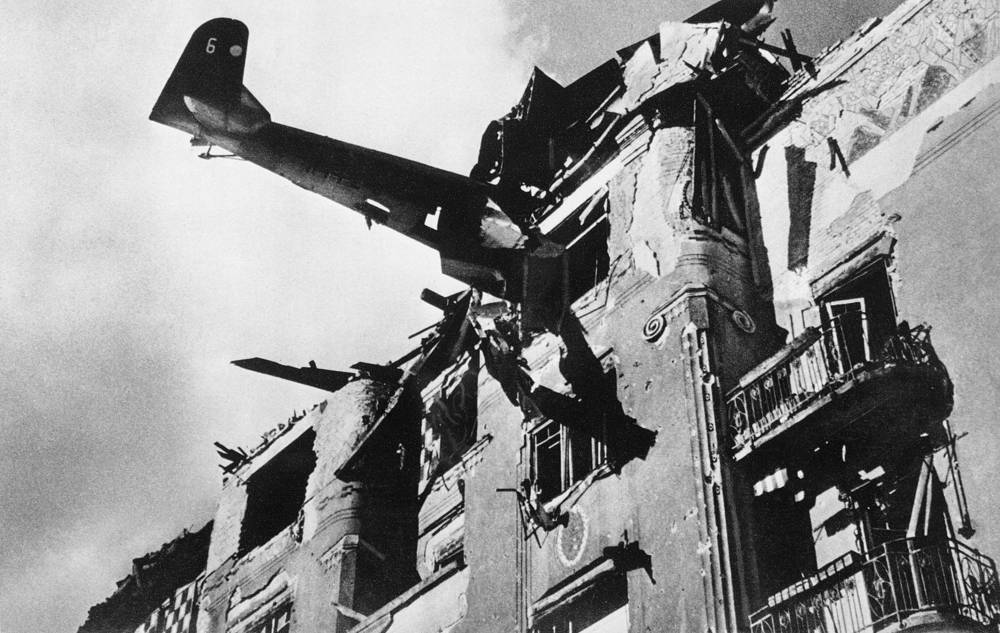 German aircraft remains lodged in a Budapest apartment building, 1945