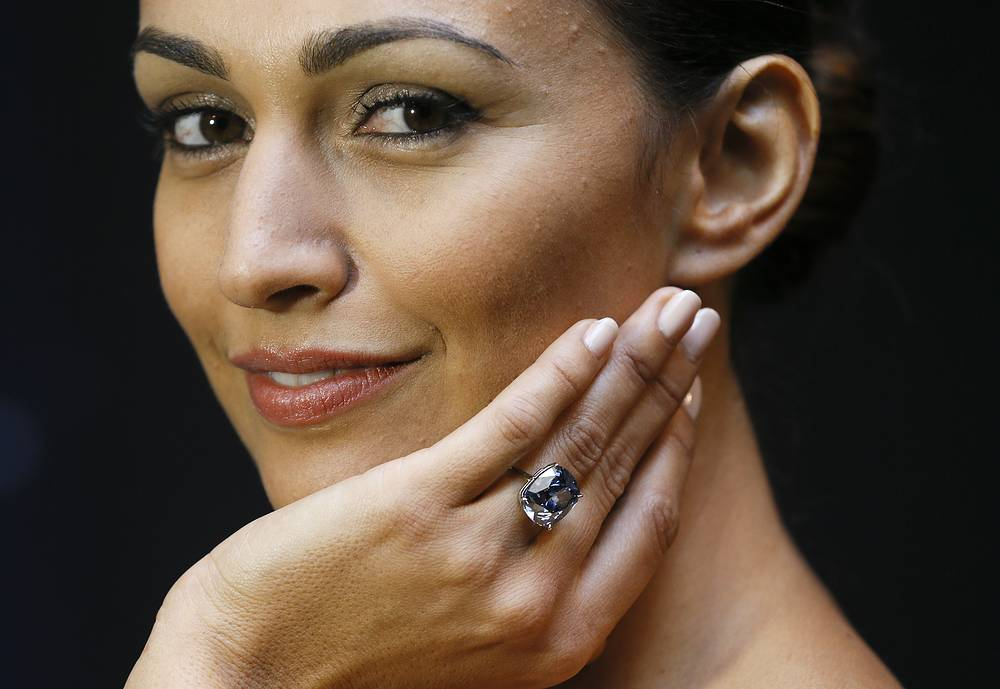 """The 12.03-carat Blue Moon diamond was sold on November 11, 2015 at Sotheby's in Geneva for $48.63 mln to Hong Kong billionaire Joseph Lau who renamed the gemstone """"The Blue Moon of Josephine"""" in honor of his seven-year old daughter. The diamond was mined by Petra Diamonds in South Africa in January 2014 and weighed 29.62 carat in the rough"""