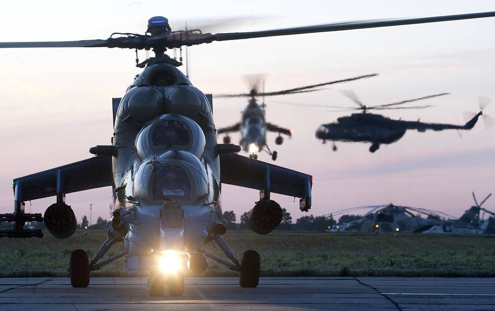 Mi-24 attack helicopters of the Berkuts aerobatic team at the 344th Centre for Combat Training and Flight Personnel Training located in the city of Torzhok, Tver Region