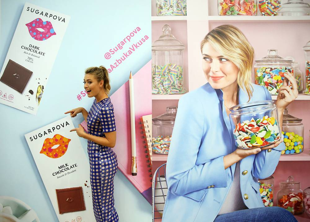 Maria Sharapova introduces new Sugarpova chocolates at the Azbuka Vkusa supermarket in Moscow, 2017