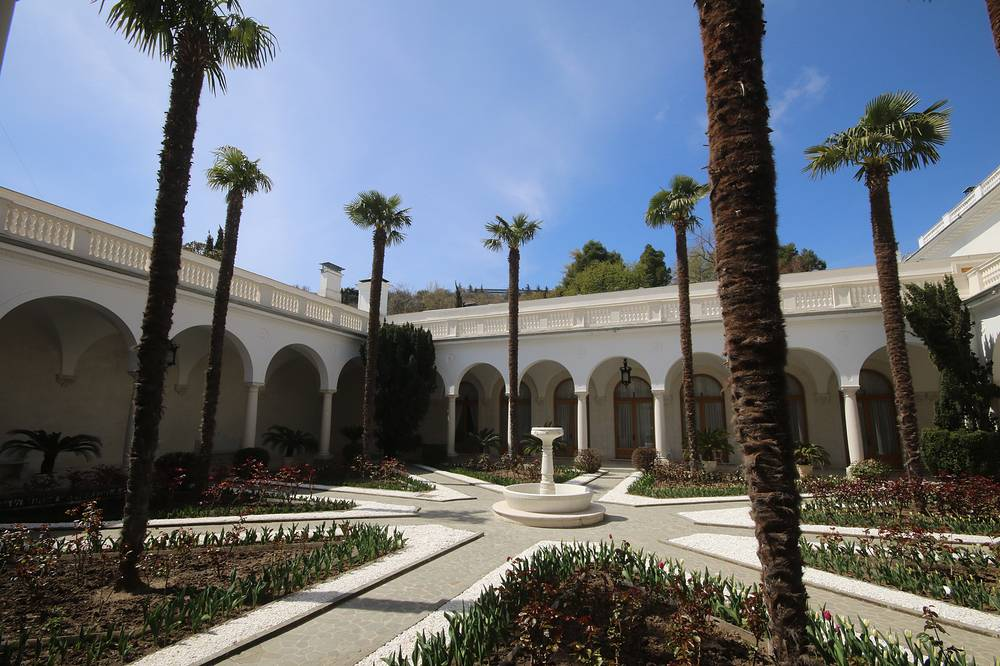A view of an Italian-style patio at the Livadia Palace in Crimea