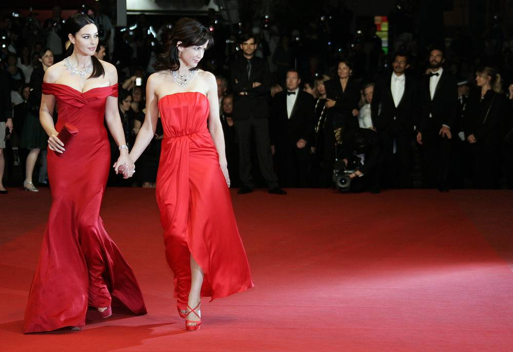 French actress Sophie Marceau and Italian actress Monica Bellucci at the 62nd International film festival in Cannes, 2009