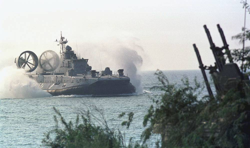 A hovercraft Zubr seen during a landing operation of the Russian Baltic Fleet