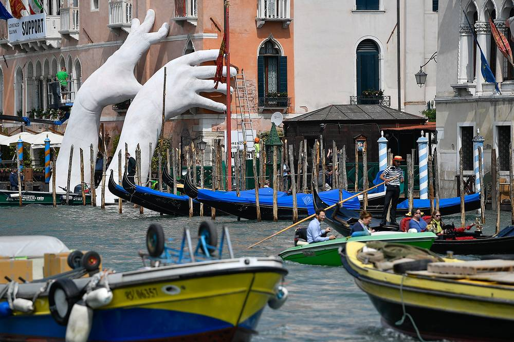A view of a public art installation in Venice during the 57th International Art Exhibition in Venice, Italy, May 12