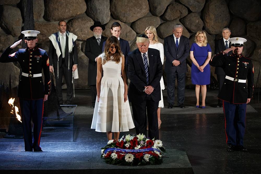 Donald and Melania Trump laying a wreath at Yad Vashem to honor the victims of the Holocaust, in Jerusalem