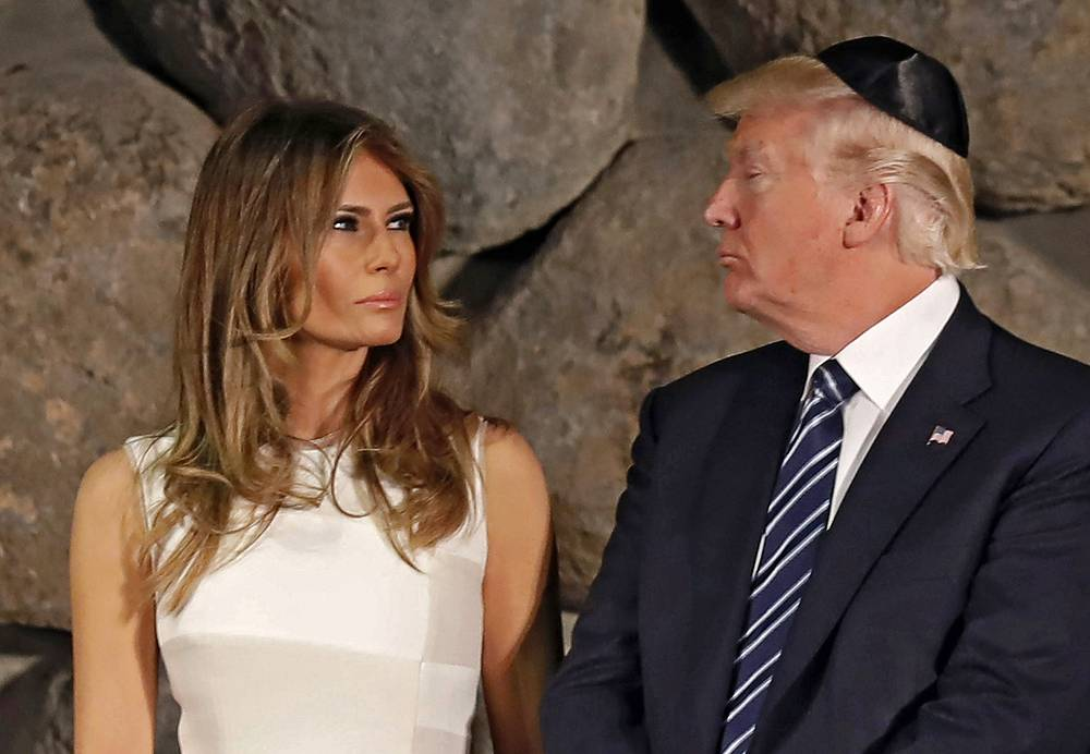 US First Lady Melania Trump and US President Donald Trump at a wreath laying ceremony during a visit to the Yad Vashem Holocaust Memorial museum, in Jerusalem, Israel