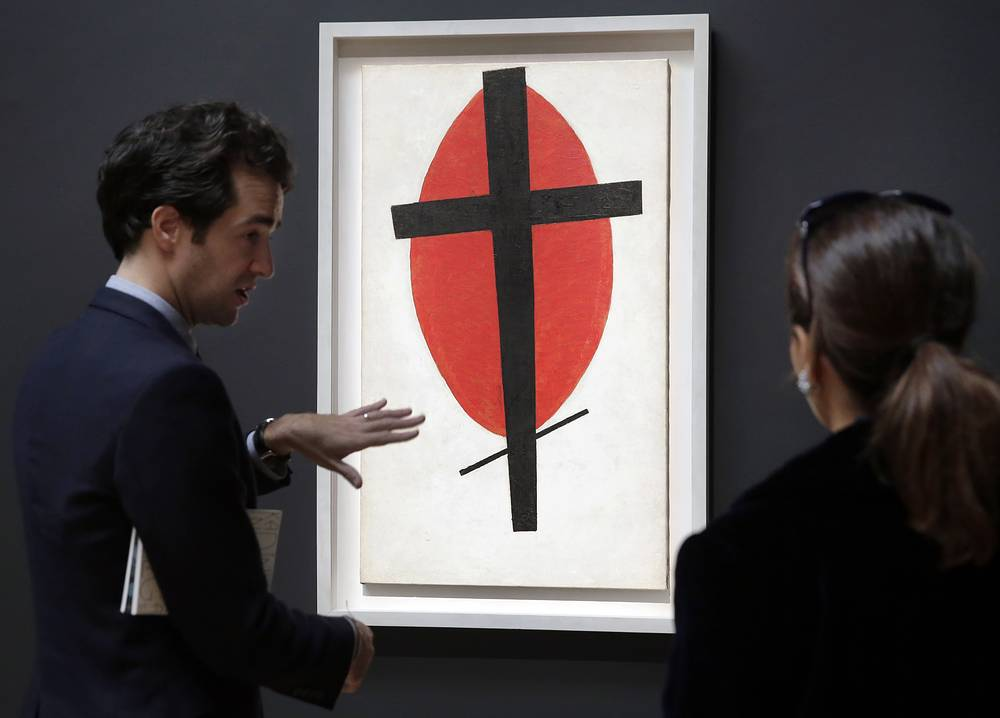 """Kazimir Malevich's """"Mystic Suprematism"""" (Black Cross on Red Oval) was sold for $37.8 million in 2015"""
