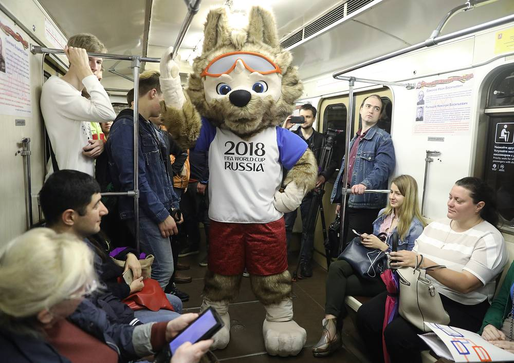 Zabivaka the Wolf, the 2018 FIFA World Cup official mascot, in Moscow metro