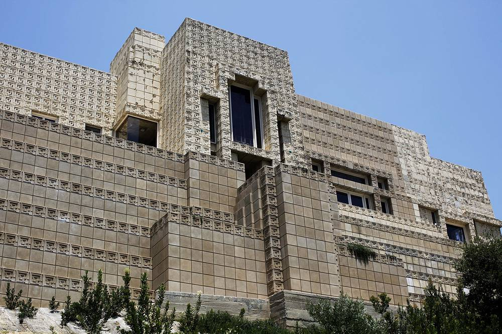 The 1924 Ennis House, designed by Frank Lloyd Write, in the Hollywood Hills in Los Angeles. The badly damaged house offers breathtaking views of the Hollywood Hills and has appeared in several movies